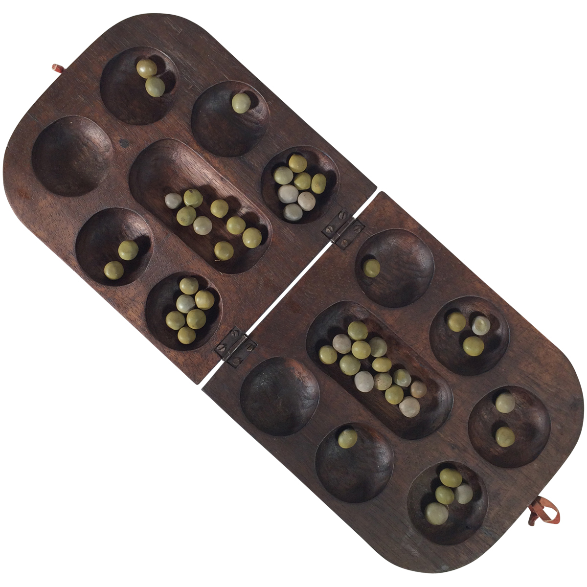 Circular Mancala Board Game with Mask Carvings