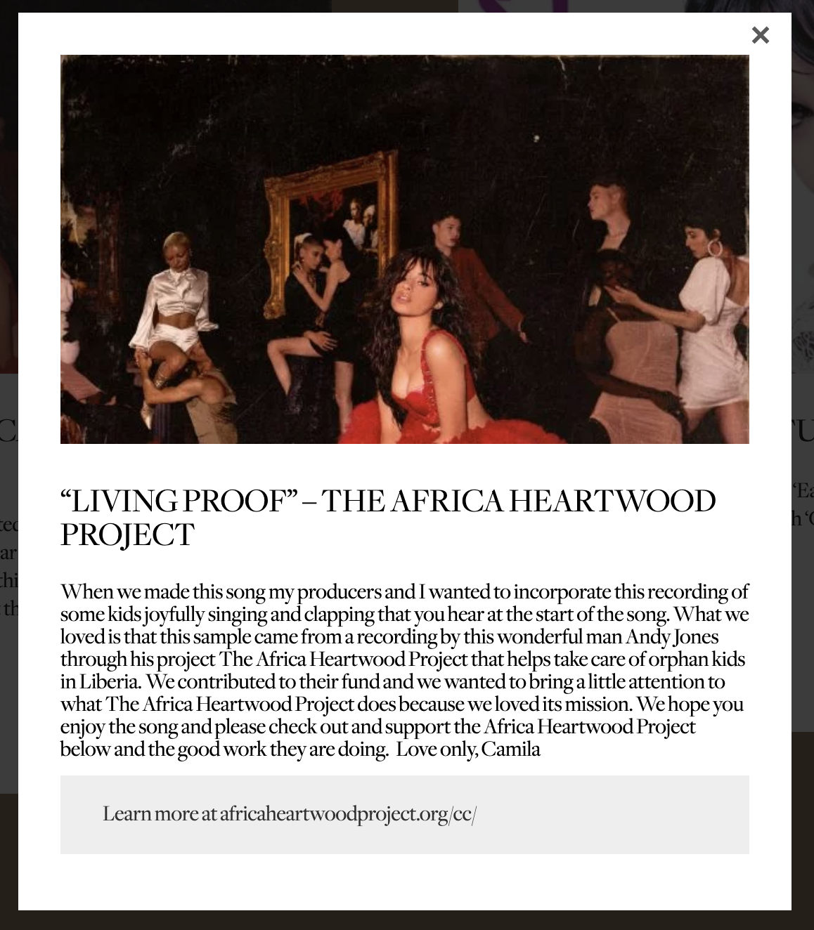 Camila Cabello and Africa Heartwood Project